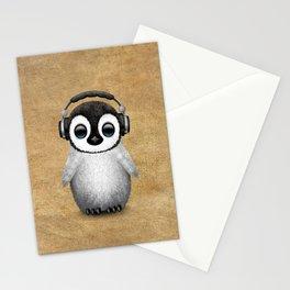 Cute Baby Penguin Dj Wearing Headphones Stationery Cards