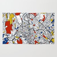 rome Area & Throw Rugs featuring Rome by Mondrian Maps