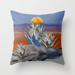 DESERT MOON AGAVE  LANDSCAPE CACTUS ART Throw Pillow