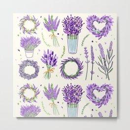 Modern ivory lavender purple vector floral pattern Metal Print