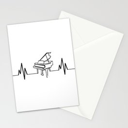 Piano Player Heartbeat Funny Stationery Cards
