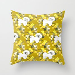 Bichon Frise on Yellow Rose Floral Autumn Gold Throw Pillow