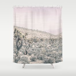 Mojave Pink Dusk // Desert Cactus Landscape Soft Cloudy Sky Mountain Scape Photograph Shower Curtain