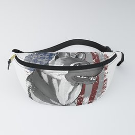Patriotic American Flag German Shepard Gift Mens Womens Kids Print Fanny Pack