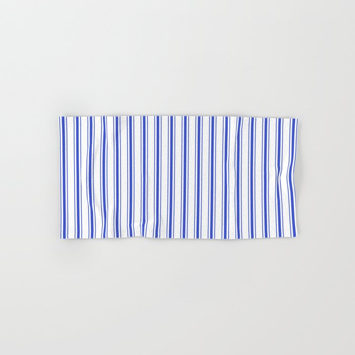 Vertical Cobalt Blue and White French Mattress Ticking Stripes Hand & Bath Towel