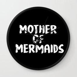Mother of Mermaids (White on Dark Bkgrnd) Wall Clock