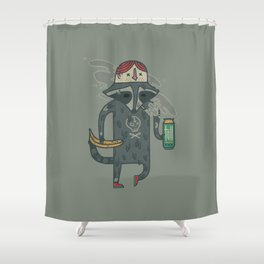"Raccoon wearing human ""hat"" Shower Curtain"