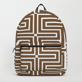 Brown and White Tessellation Line Pattern 3 - Sherwin Williams 2022 Color Uber Umber SW 9107 Backpack