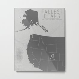 Tallest Mountains of the United States Metal Print