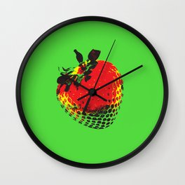Strawberry Green - Posterized Wall Clock