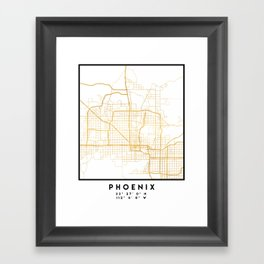 PHOENIX ARIZONA CITY STREET MAP ART Framed Art Print