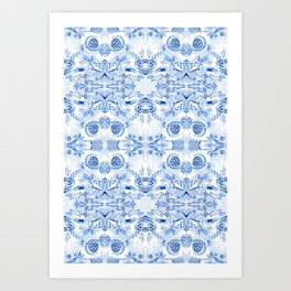 Blue on white pattern Art Print