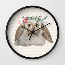 Floral Crown Bunny on Burlap Wall Clock