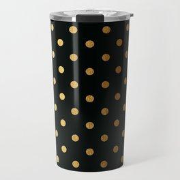 Gold polka dots on black pattern Travel Mug