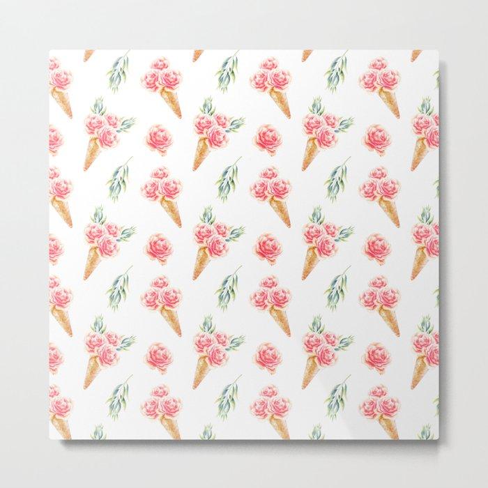 Floral Chill Rose Metal Print