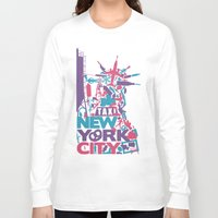 nyc Long Sleeve T-shirts featuring NYC by ahutchabove