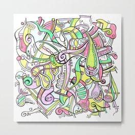 Pastel Geometric Zendoodle Doodle Hand-drawn artwork Metal Print