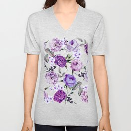 Elegant Girly Violet Lilac Purple Flowers Unisex V-Neck