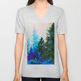 SCENIC BLUE MOUNTAIN GREEN PINE FOREST Unisex V-Neck