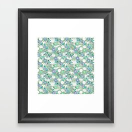 Green Crane Floral Framed Art Print