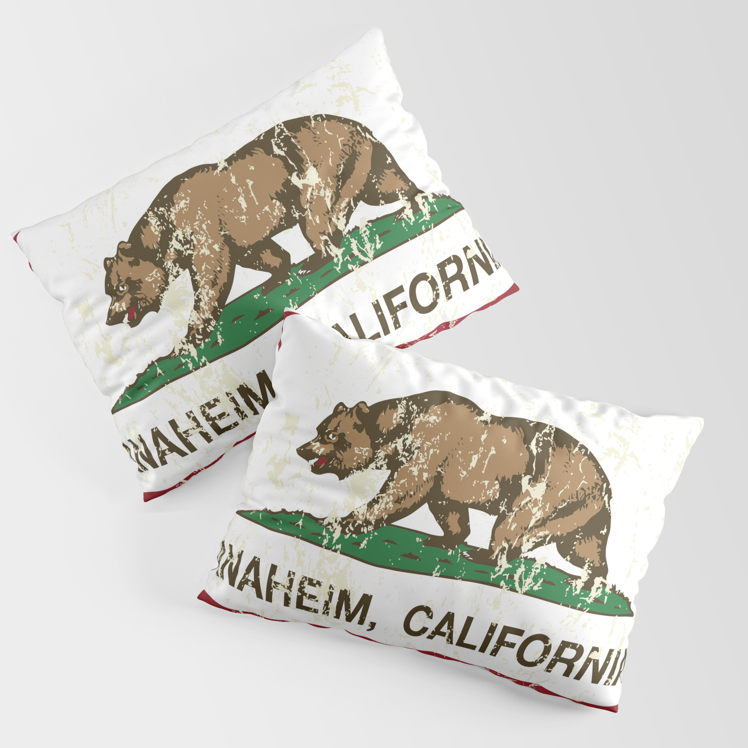 Anaheim California Republic Flag Distressed Pillow Sham By Norcal Society6