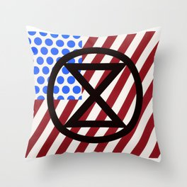 Extinction Rebellion USA Throw Pillow