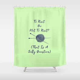 Vintage To Knit Or Not To Knit Funny Pun Sew Shower Curtain