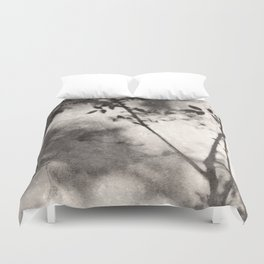 Leaves and Branches Shadows on Stone Wall Duvet Cover