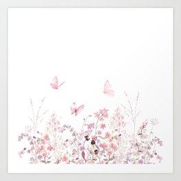 Wild Meadow Flowers and Butterflies Art Print