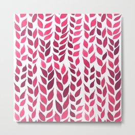 Simple Watercolor Leaves - Hot Pink Metal Print