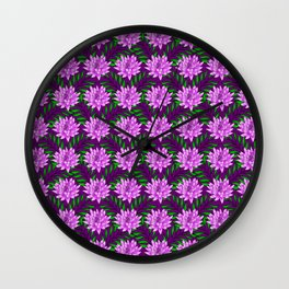 pink blooming lily flowers and green leaves plant floral burgundy pretty feminine nature pattern Wall Clock
