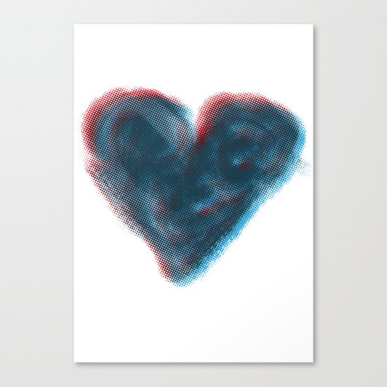 Red and Blue Heart Canvas Print