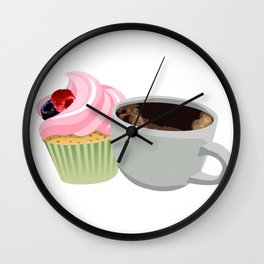 cupcakes and coffee Wall Clock