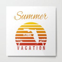 Summer Vacation Florida Miami Beach Holiday Retro Vintage Metal Print