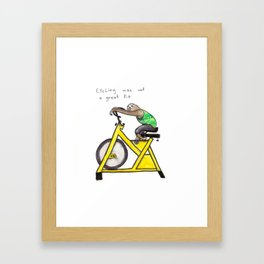 Slothercise: Cycling Not a Great Fit Framed Art Print