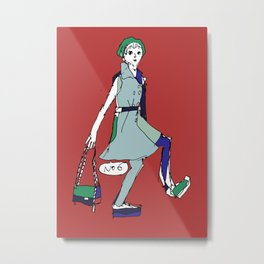 a girl in red Metal Print