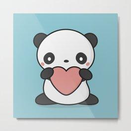 Kawaii Cute Panda With Heart Metal Print