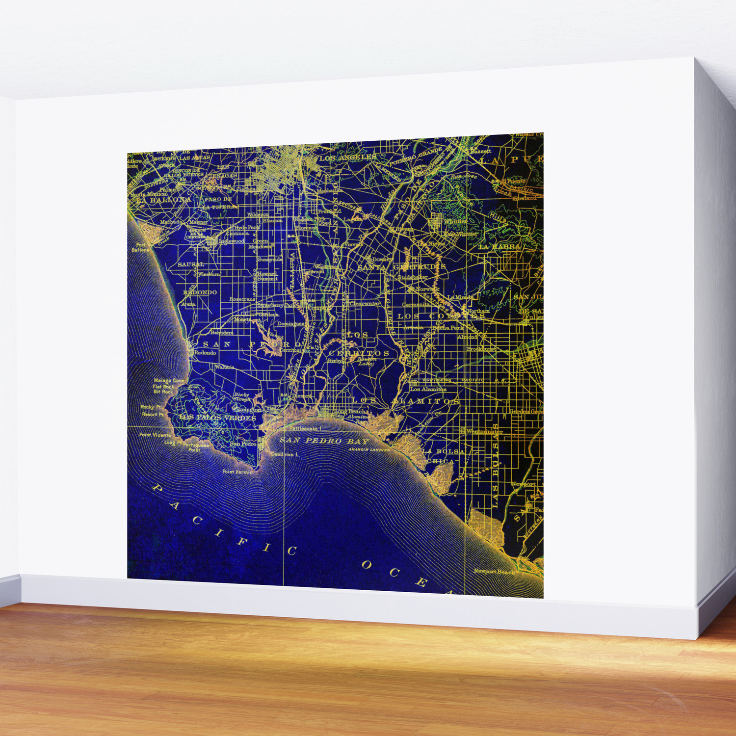 San Pedro Bay OLD MAP 1904, united states vintage maps Wall Mural