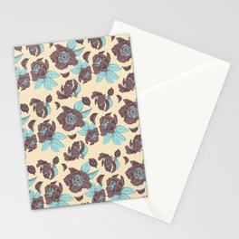 Wild Peonies - peach and light blue hues Stationery Cards