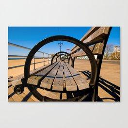 Coney Island Bench Canvas Print
