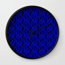 Mystical iridescent blue rhombs and black triangles with square volume. Wall Clock