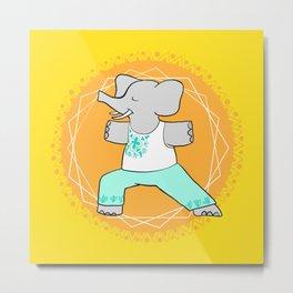 Yoga elephant - warrior pose Metal Print