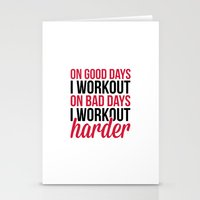 workout Stationery Cards featuring Workout Harder Gym Quote by EnvyArt