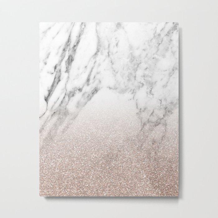 Marble sparkle rose gold Metal Print