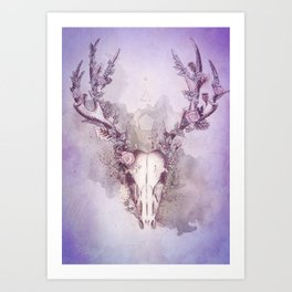 Woodland Stag in Blue Art Print
