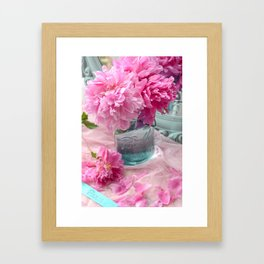 Peonies In Mason Jar  Framed Art Print