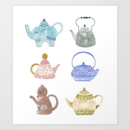 Waterclor Teapot Collection Art Print