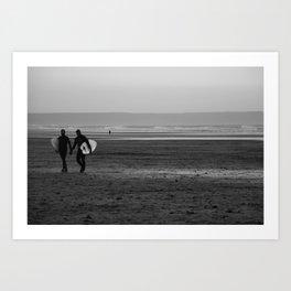 surfer couple Art Print