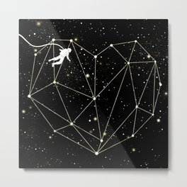 Astronaut Found Love in Space Metal Print
