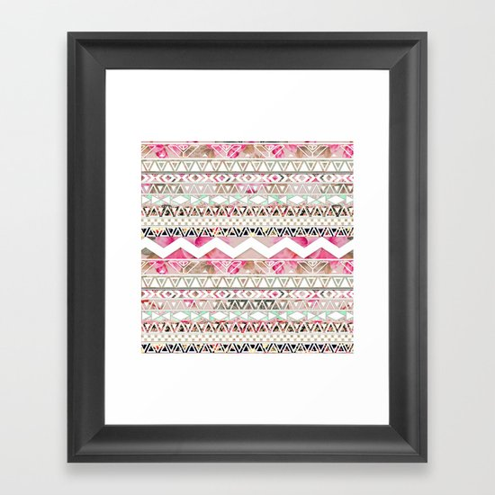Aztec Spring Time! | Girly Pink White Floral Abstract Aztec Pattern Framed Art Print